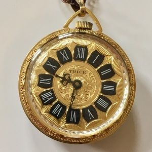 Vintage Trice Cameo Pocket Watch Gold Necklace